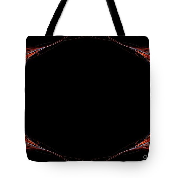 Tote Bag featuring the digital art Fractal Red Frame by Henrik Lehnerer