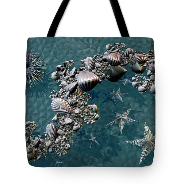Tote Bag featuring the digital art Fractal Sea Life by Manny Lorenzo