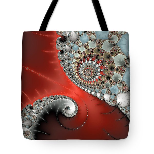Fractal Spiral Art Red Grey And Light Blue Tote Bag