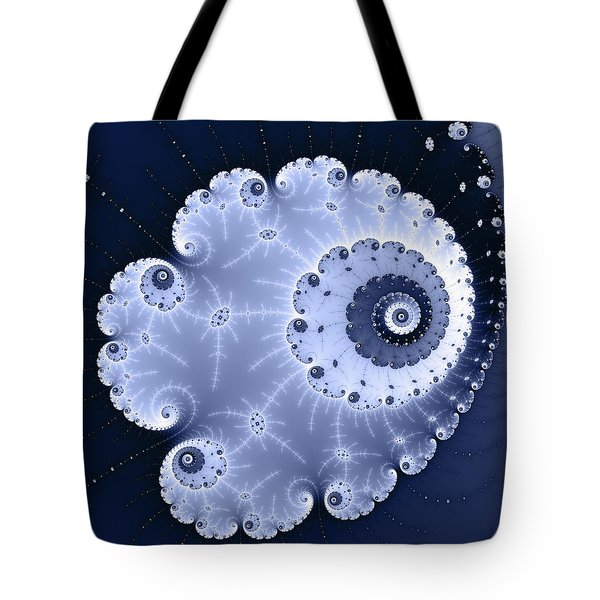 Fractal Spiral Light And Dark Blue Colors Tote Bag