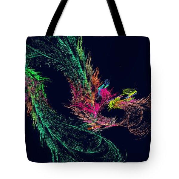 Fractal - Winged Dragon Tote Bag by Susan Savad