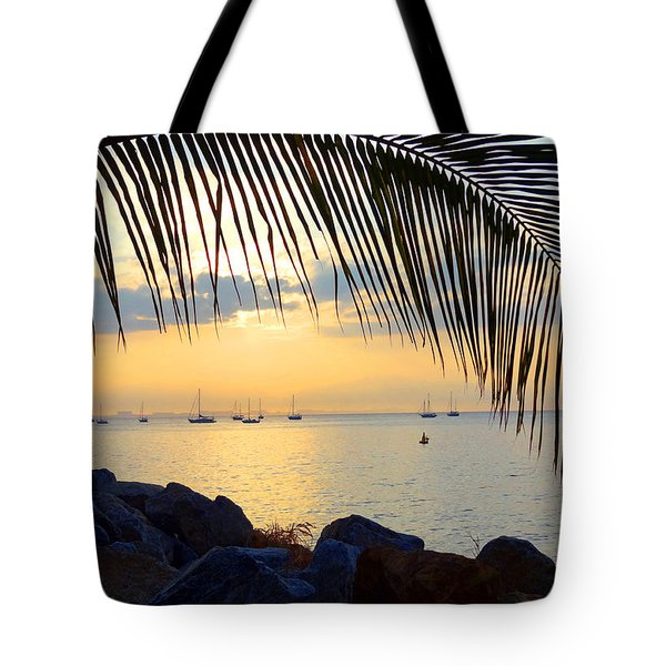 Framed By Fronds Tote Bag by Anne Mott