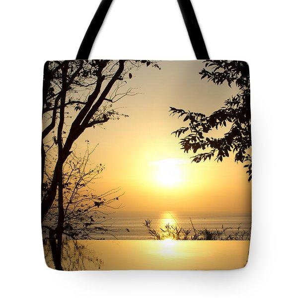 Framed Golden Sunset Tote Bag