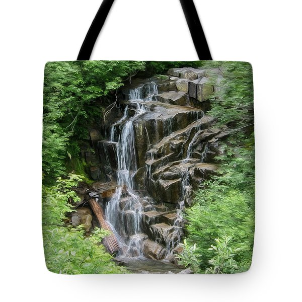 Framed Waterfalls On Mount Rainier Tote Bag by John Haldane