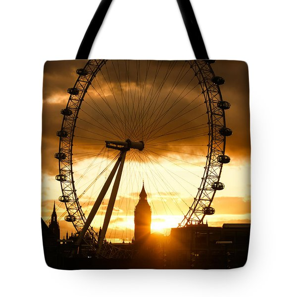 Framing The Sunset In London - The London Eye And Big Ben  Tote Bag by Georgia Mizuleva