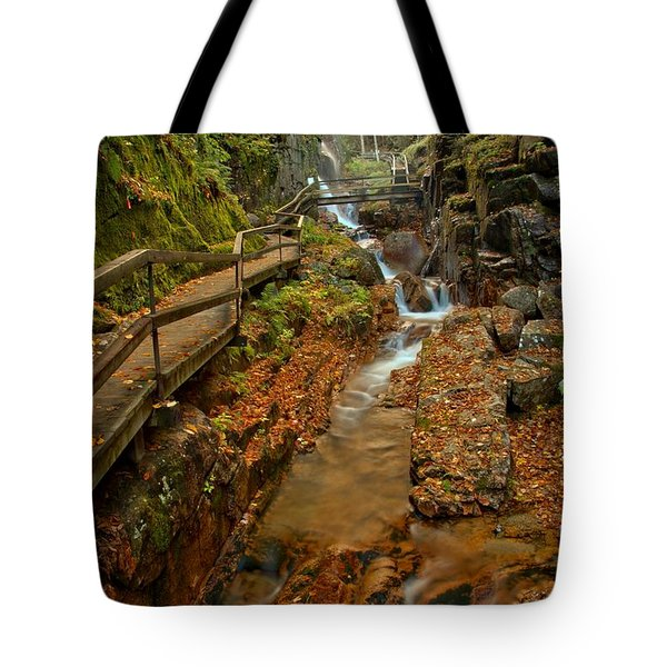 Franconia Notch Lush Greens And Rushing Waters Tote Bag
