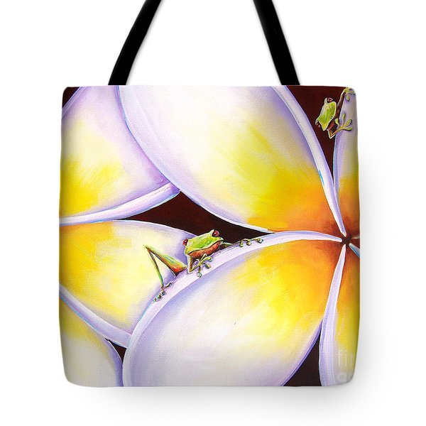 Frangipani Frogs Tote Bag