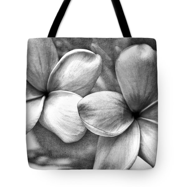 Frangipani In Black And White Tote Bag by Peggy Hughes