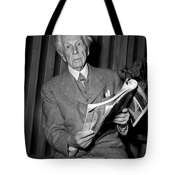 Tote Bag featuring the photograph Frank Lloyd Wright 1951 by Martin Konopacki Restoration