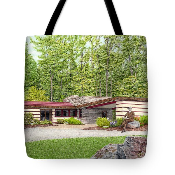 Tote Bag featuring the painting Frank Lloyd Wright At Duncan House by Albert Puskaric