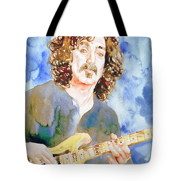 Frank Zappa Playing The Guitar Watercolor Portrait Tote Bag by Fabrizio Cassetta