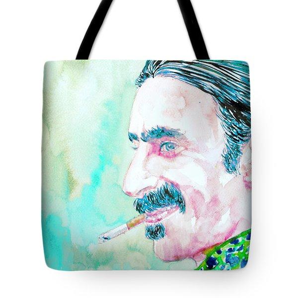 Frank Zappa Smoking A Cigarette Watercolor Portrait Tote Bag by Fabrizio Cassetta
