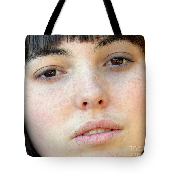 Tote Bag featuring the photograph Freckle Faced Beauty Model Closeup by Jim Fitzpatrick