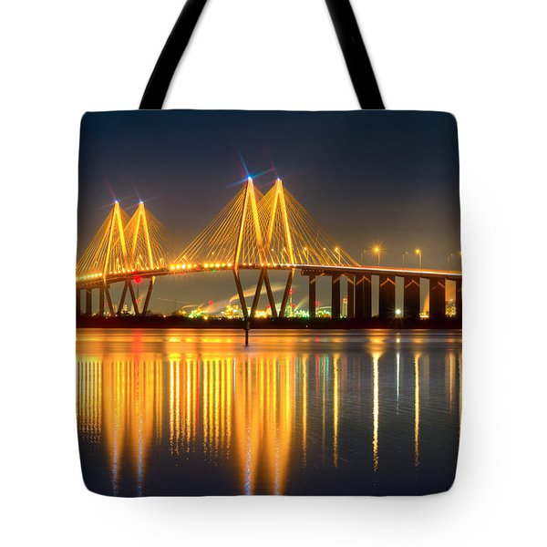 Fred Hartman Bridge At Night Tote Bag by Tim Stanley