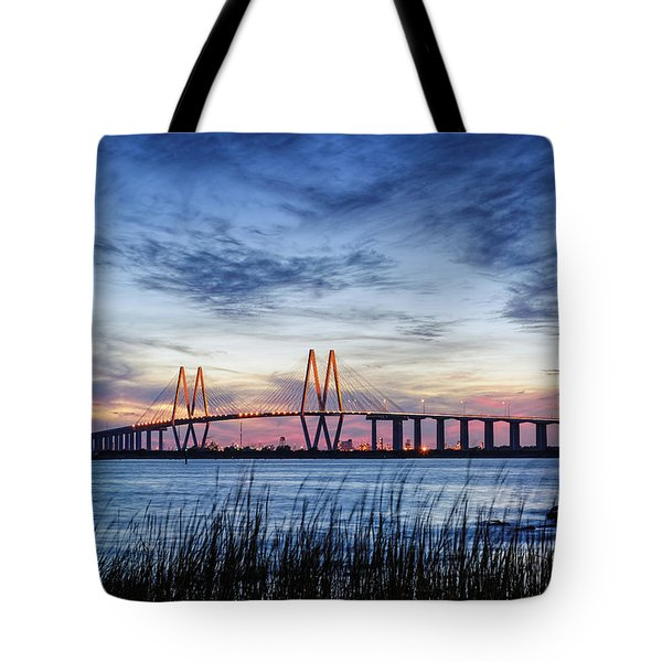 Fred Hartman Bridge At Twilight Hour Tote Bag