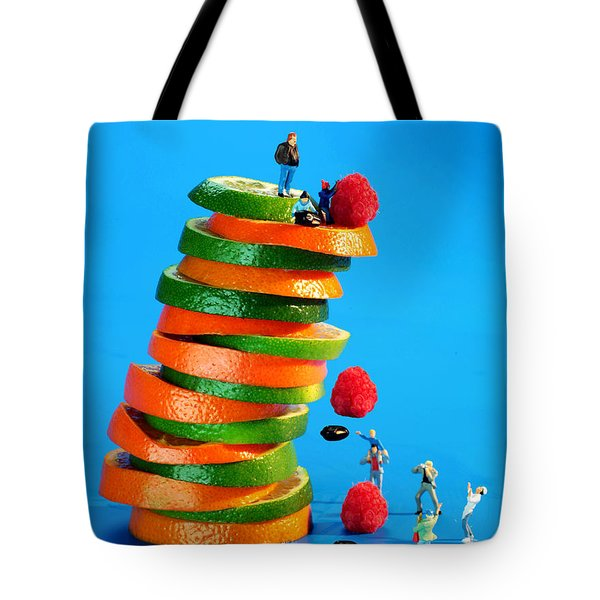 Free Falling Bodies Experiment On Fruit Tower Tote Bag by Paul Ge