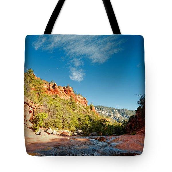 Free Flow At Oak Creek Tote Bag by Silvio Ligutti
