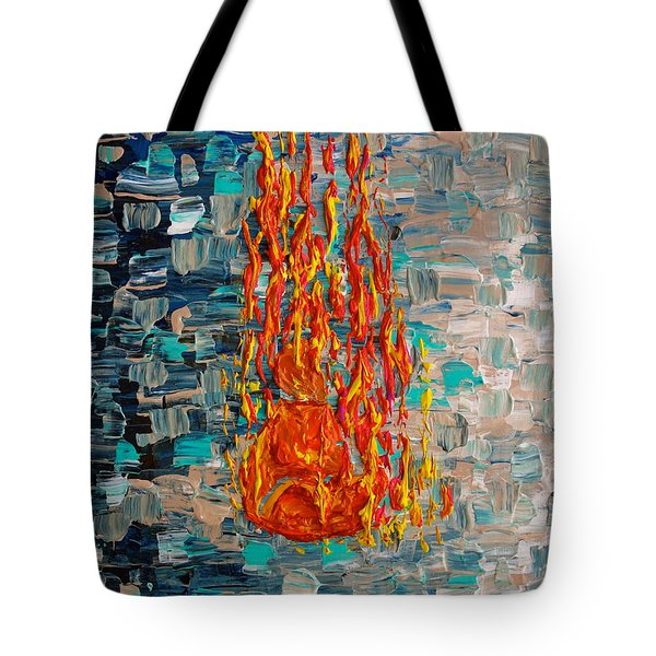 Tote Bag featuring the painting Free Tibet by Jacqueline Athmann