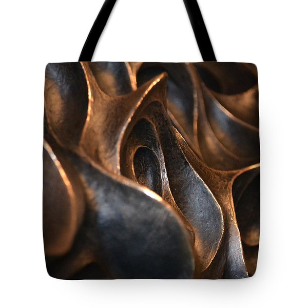Tote Bag featuring the photograph Freeform Metal  by Nadalyn Larsen