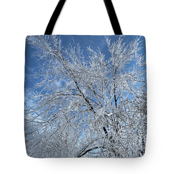 Tote Bag featuring the photograph Freezing Rain ... by Juergen Weiss