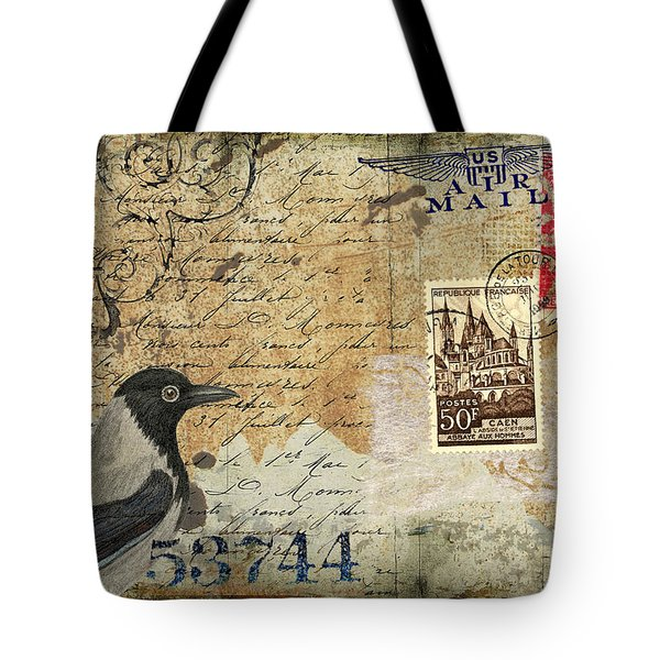 French Bird Postcard Tote Bag