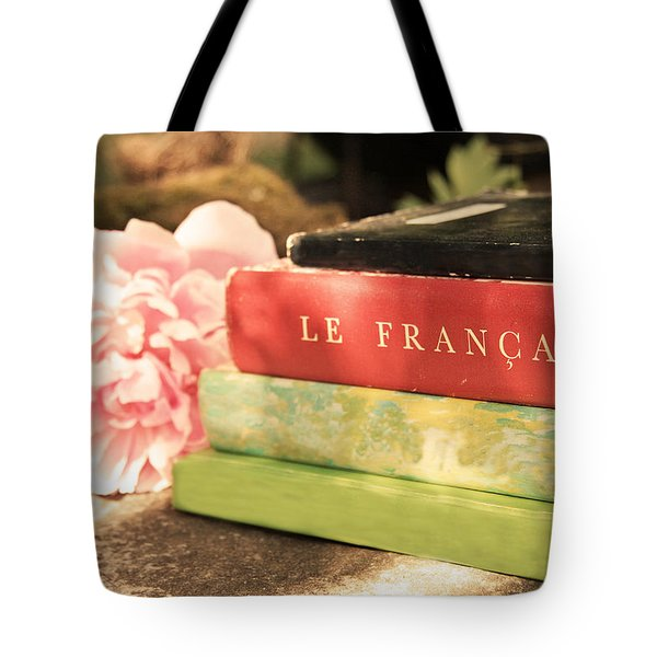 Tote Bag featuring the photograph French Books And Peony by Brooke T Ryan