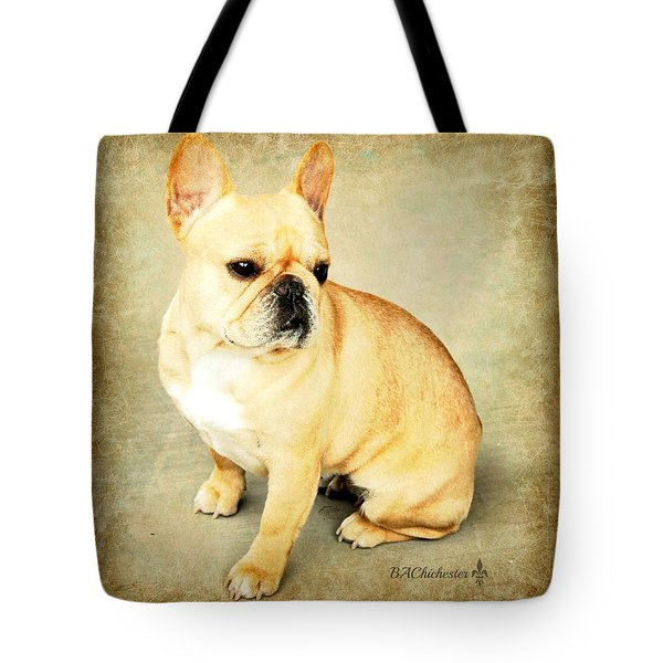 Tote Bag featuring the photograph French Bulldog Antique by Barbara Chichester