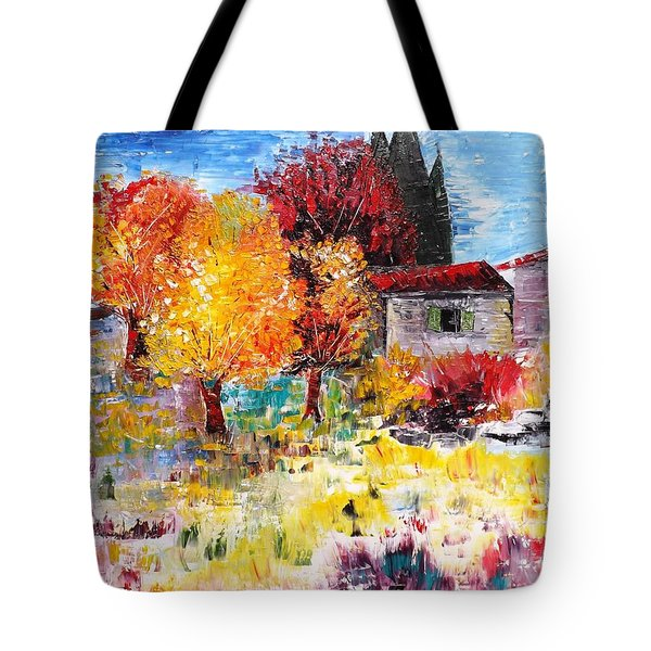 French Farm With Green Shutters Tote Bag