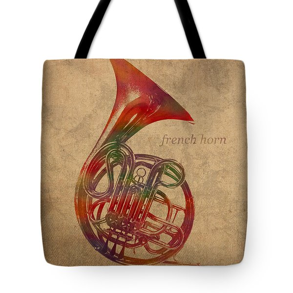 French Horn Brass Instrument Watercolor Portrait On Worn Canvas Tote Bag