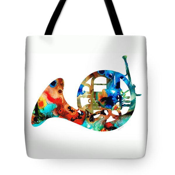 French Horn - Colorful Music By Sharon Cummings Tote Bag by Sharon Cummings