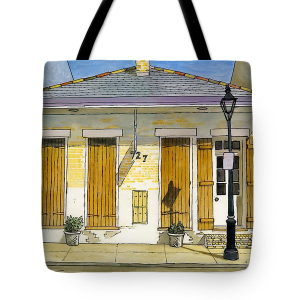 French Quarter Yellow Brick House 367 Tote Bag by John Boles