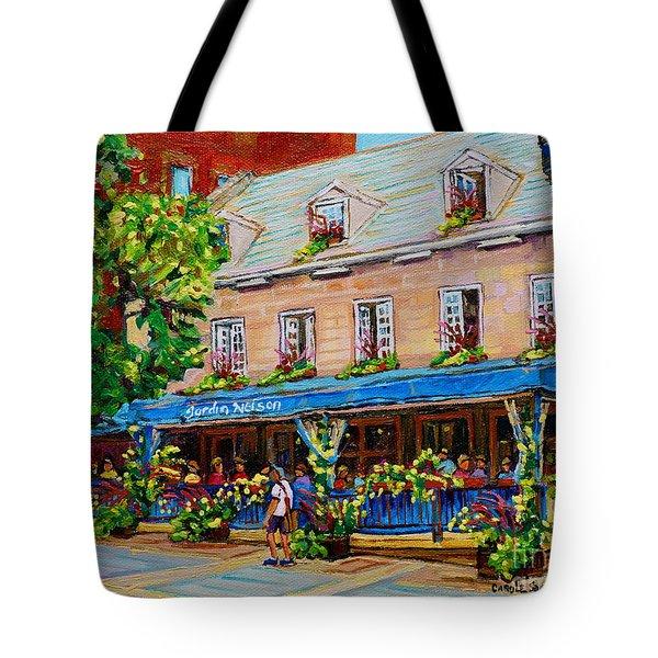 French Restaurant Jardin Nelson Paris Style Bistro Place Jacques Cartier Terrace Garden C Spandau   Tote Bag