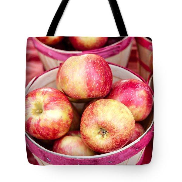 Fresh Apples In Buschel Baskets At Farmers Market Tote Bag by Teri Virbickis
