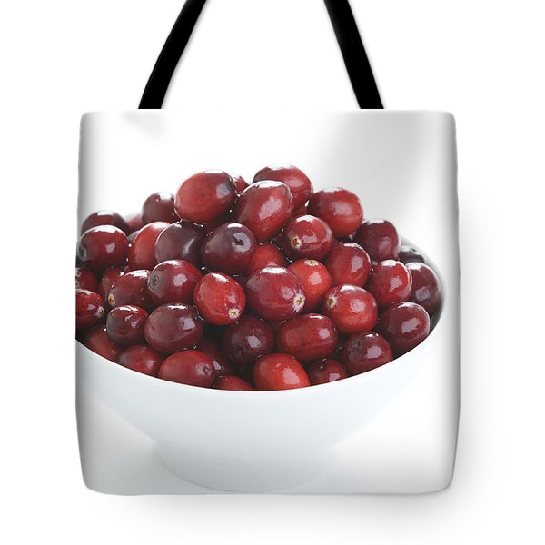 Tote Bag featuring the photograph Fresh Cranberries In A White Bowl by Lee Avison
