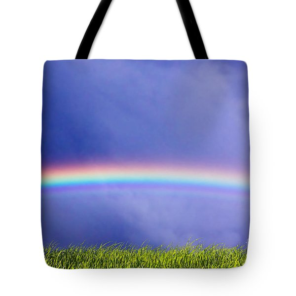 Fresh Grass And Sky With Rainbow Tote Bag by Michal Bednarek