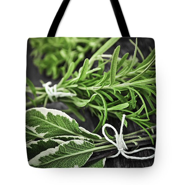 Fresh Herbs In Bunches Tote Bag