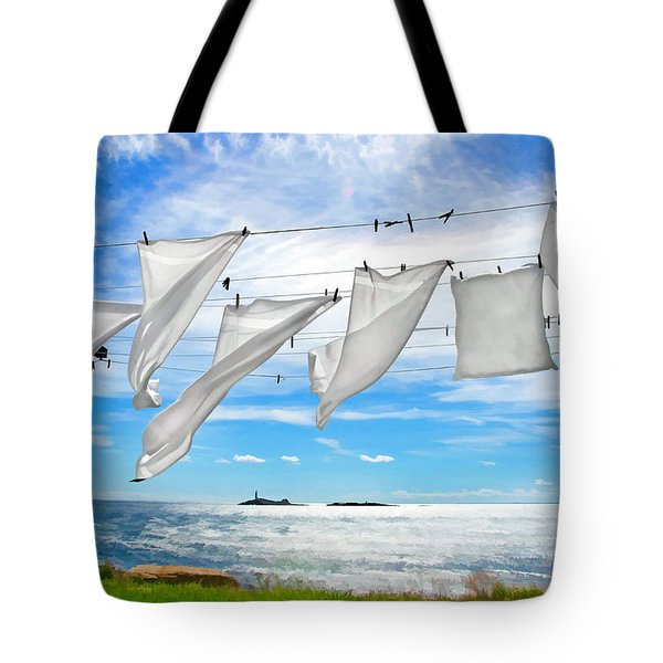 Fresh Laundry Tote Bag by Donna Doherty