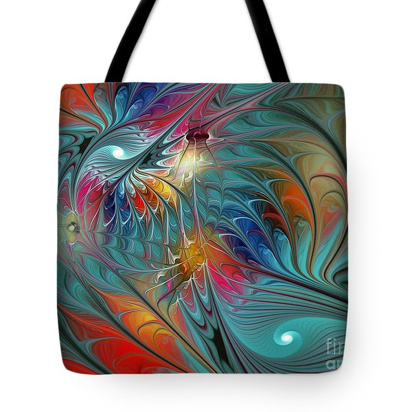 Fresh Mints And Cool Blues-abstract Fractal Art Tote Bag