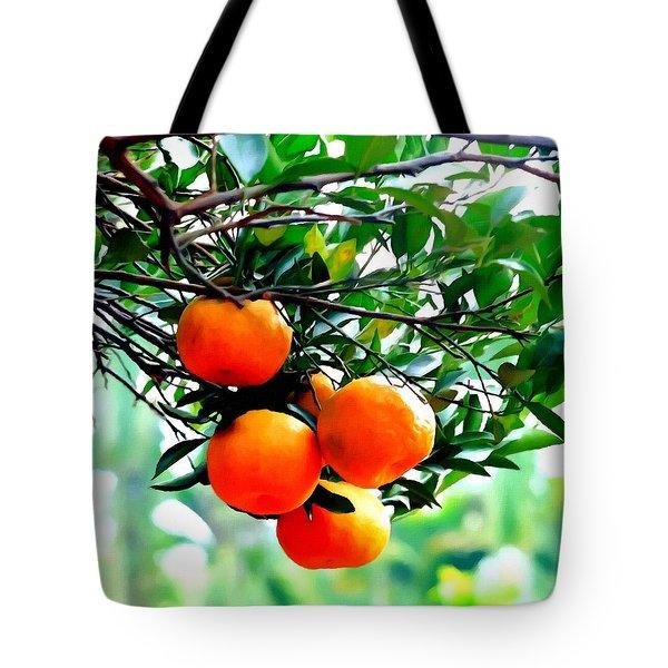Fresh Orange On Plant Tote Bag by Lanjee Chee