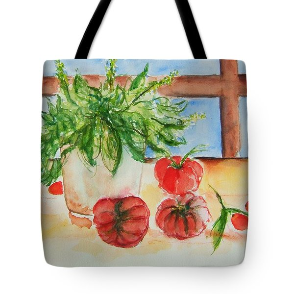 Fresh Picked Tomatoes And Basil Tote Bag by Elaine Duras