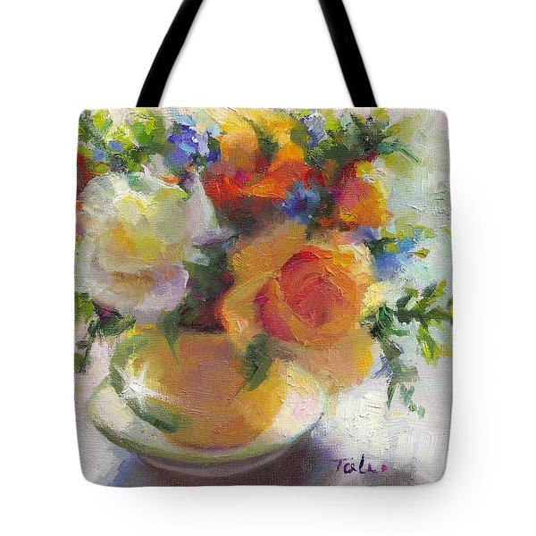 Fresh - Roses In Teacup Tote Bag
