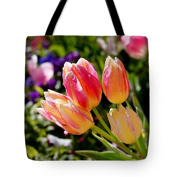 Fresh Tulips Tote Bag by Rona Black
