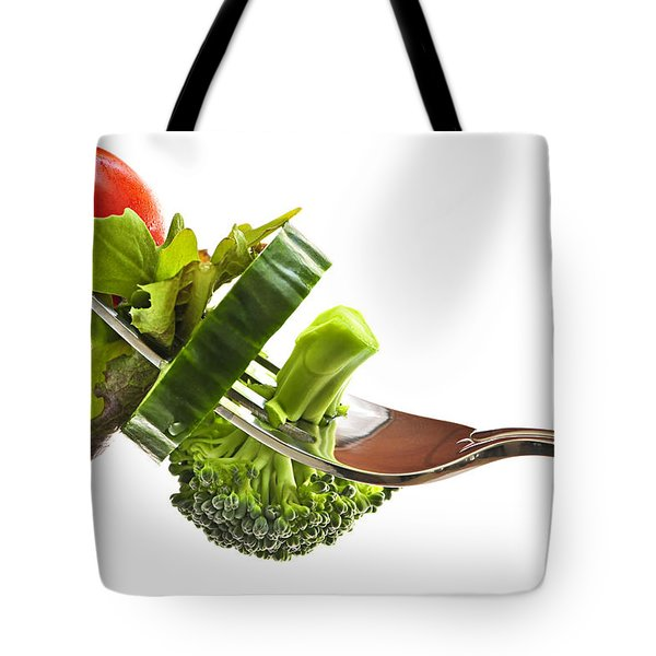 Fresh Vegetables On A Fork Tote Bag