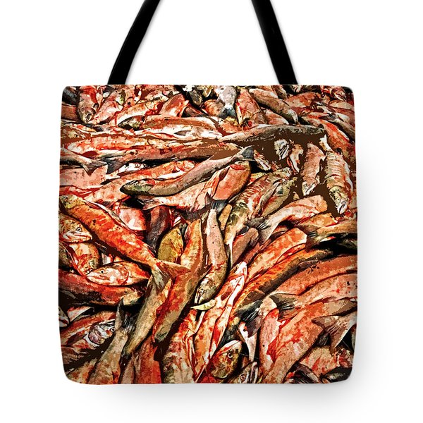 Freshly Catched Salmons At The Nenana River - Ak Tote Bag by Juergen Weiss