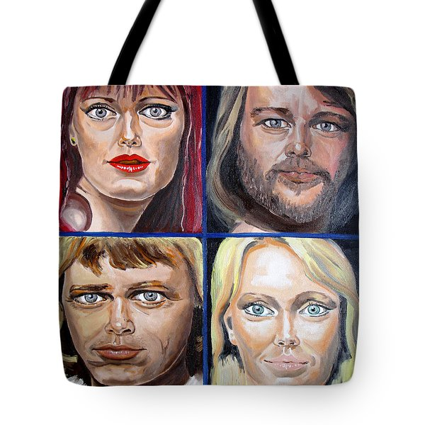 Tote Bag featuring the painting Frida Benny Bjorn Agnetha by Daniel Janda