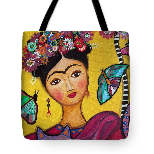 Frida Kahlo And Her Cat Tote Bag by Pristine Cartera Turkus