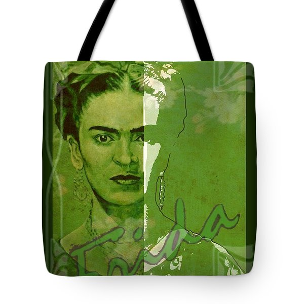 Frida Kahlo - Between Worlds - Green Tote Bag by Richard Tito