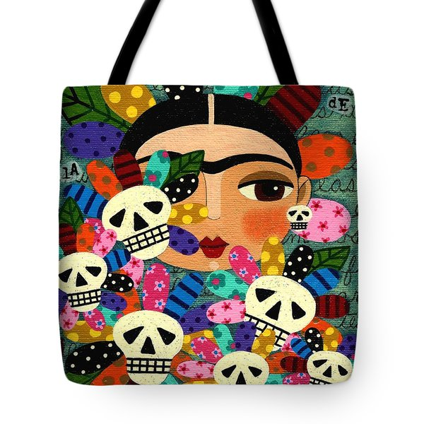 Tote Bag Featuring The Painting Frida Kahlo Day Of Dead Flowers By LuLu Mypinkturtle