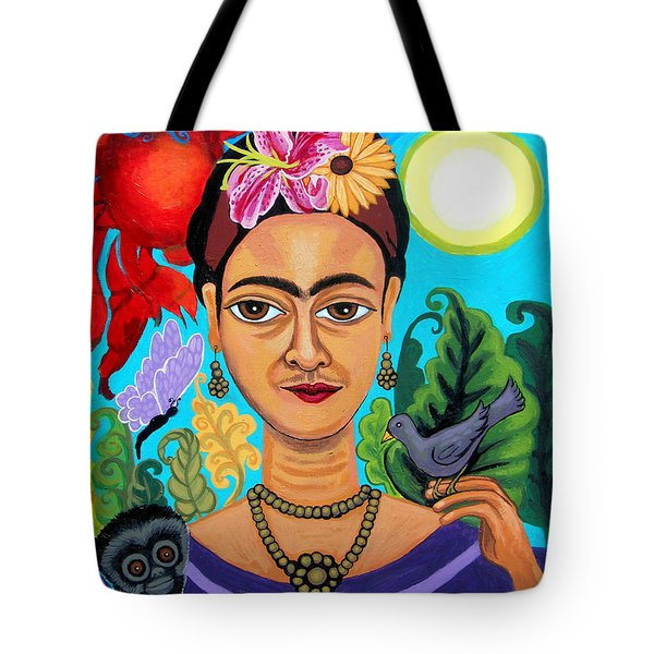 Frida Kahlo With Monkey And Bird Tote Bag