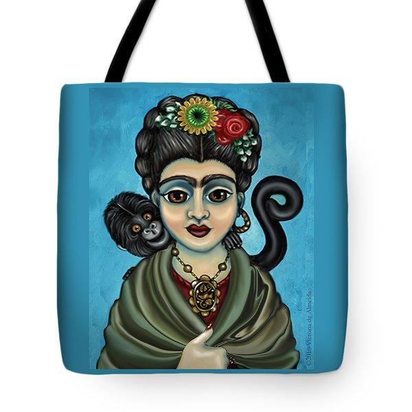 Frida's Monkey Tote Bag by Victoria De Almeida